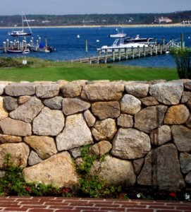 Facade wall from Edgartown is pre-fabricated shaped stones pressed into a mortar matrix, likely on top of cinder blocks.  Still, the effect is pleasing.
